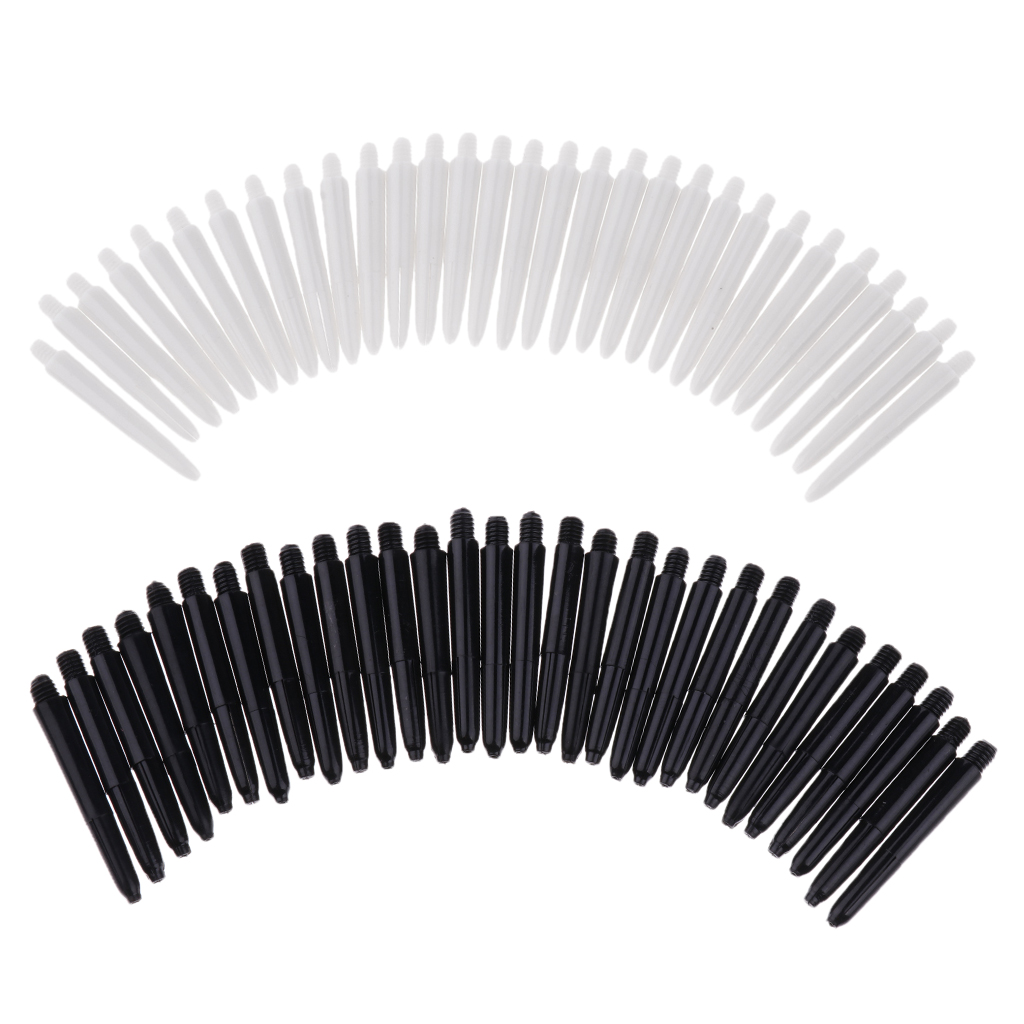 Perfeclan 60 Pieces 35mm 2BA Thread Plastic Stems Shafts Soft Tip Darts Accessories White & Black