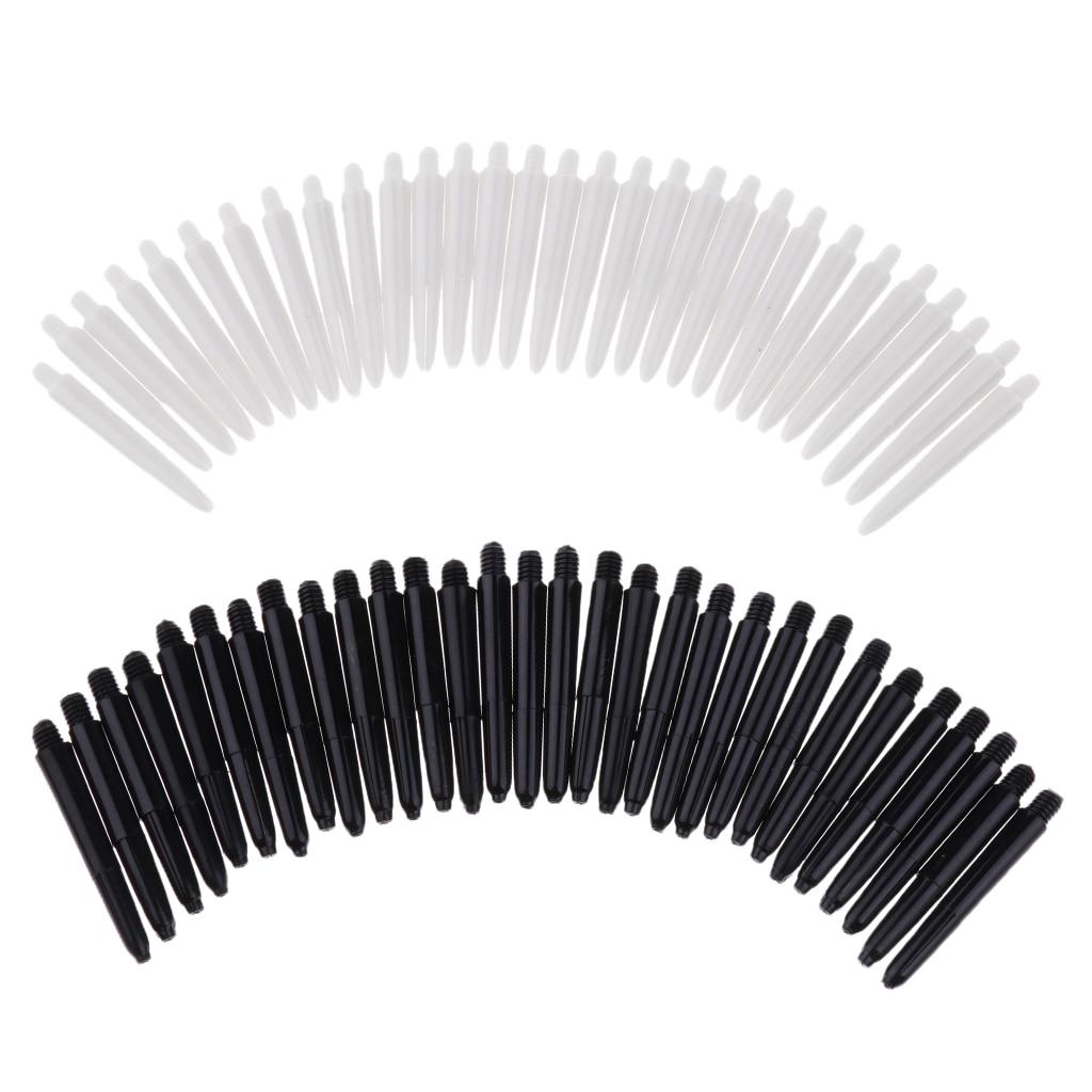 Perfeclan 60 Pieces 35mm 2BA Thread Plastic Stems Shafts Soft Tip Darts Accessories White & Black