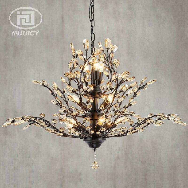 Vintage rétro E14 LED fer industriel K9 luxe cristal lustre maison hôtel Restaurant salon salle à manger chambre Bar décor
