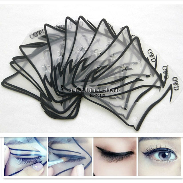 5pcs/lot 7 style in 1 set Quick Makeup Cat Eyeliner Smokey Eyeshadow Drawing Guide Reusable Stencil Classic Eye Line Template