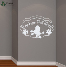 Grooming Salon Wall Decal Barber Pet Shop Sign Vinyl Stickers Dog Paw Pattern Window Door Decor Interior Sticker DIY SY307