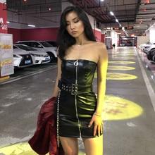 Nibber women spring goth style black PU leather zipper dress 2019 new fashion Metal chain decoration Punk girl sleeveless dress