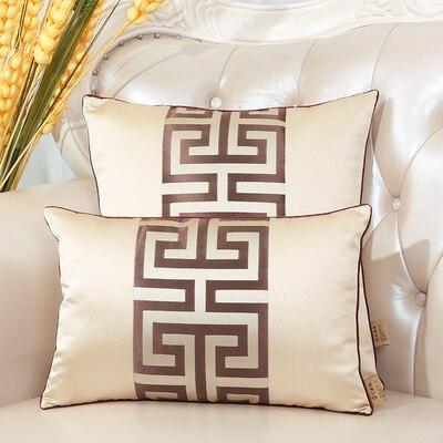 Последние европейские декоративные Чехлы для дивана, кресла, спинки, поясничная Подушка, роскошный Шелковый атласный чехол для подушки - Цвет: Бежевый