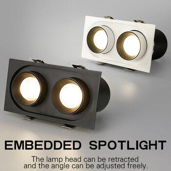 PULUOTI כפול ראש Embedded זווית מתכוונן טלסקופי מנורת בעל LED זרקור