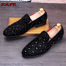 2016 New Men Pointed Toe Leather Shoes Fashion Cool Hairstylist Doug shoes Nightclub Men's Flat shoes Loafers Casual Shoes