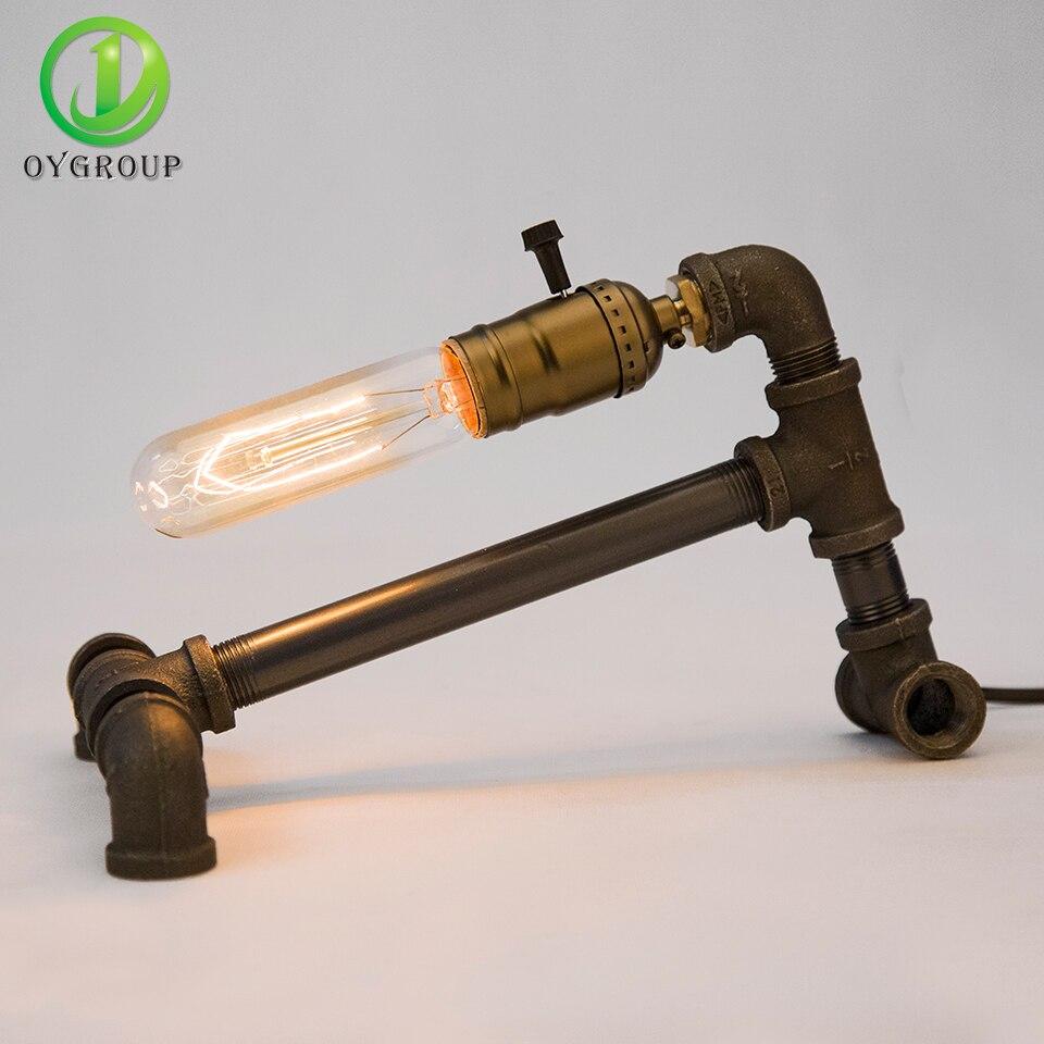 Loft Vintage Edison Bulbs Table Lamp Black Iron Base Water Pipe Novelty Desk Lamp For Home Decor