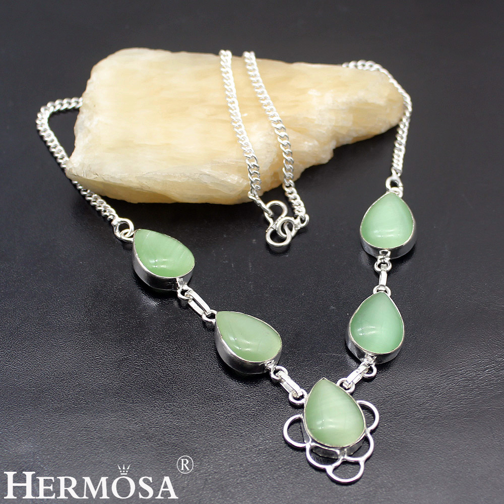 HERMOSA Jewelry Charming Fashion Women Necklace 925 Sterling Silver inlay RAINBOW MOONSTONE Length 19 inch (48cm) LM169