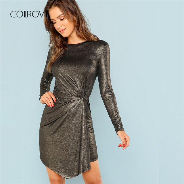 COLROVIE Black Solid Drap Waist Twist Sexy Dress Women 2018 Long Sleeve  Ladies Club Party Dress Bodycon Elegant Mini Dresses e8f093a998bf