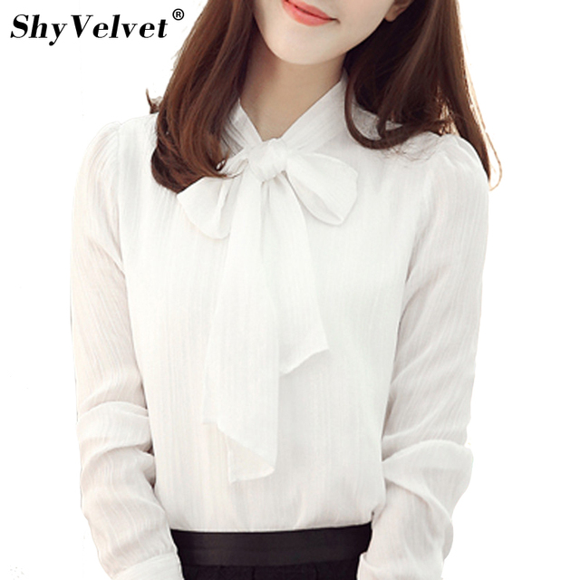 34f14db55cb3 Women Long Sleeve Chiffon Blouse Bow Tie Office Ladies Work Wear Formal  Shirts Female Loose Tops Plus Size