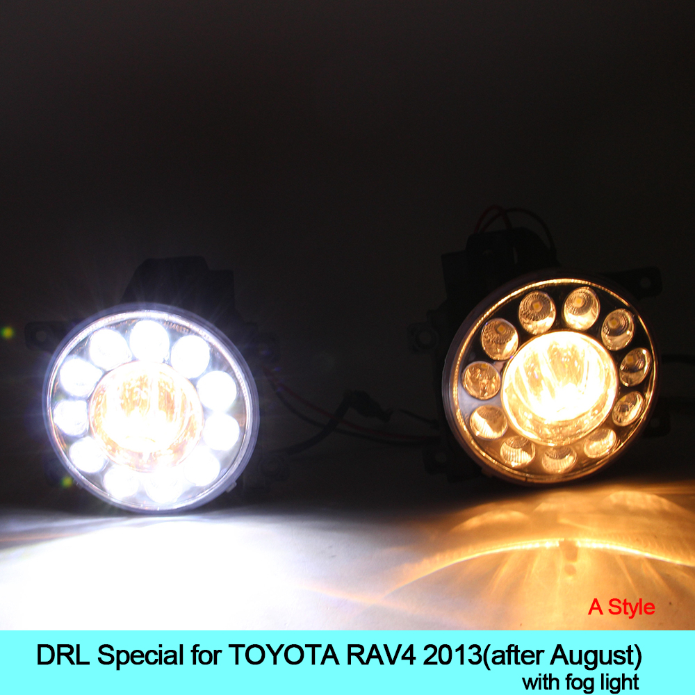 Car drl kit for toyota rav4 2013 2014 led daytime running light bar super bright fog