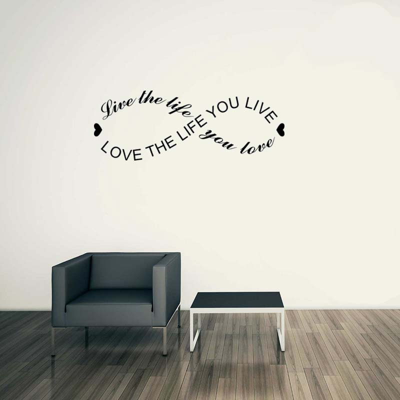 2017 New Modern Living Room Wall Sticker Fashion English Motto Stikers Love Life Poster Diy Meaningful Adesivo De Parede SD107