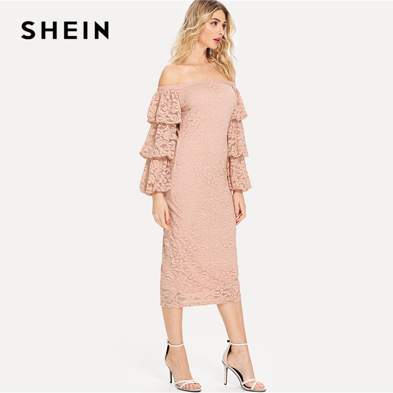 de94944c76 SHEIN Pink Party Elegant Tiered Layer Flounce Long Sleeve Off The Shoulder  Lace Pencil Dress Summer Women Going Out Dresses-in Dresses from Women's  Clothing ...