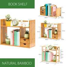 Bamboo Bookshelf Table Desktop Storage Rack Board Display Desk Shelf Organizer Counter home decor Child Bookcase(China)