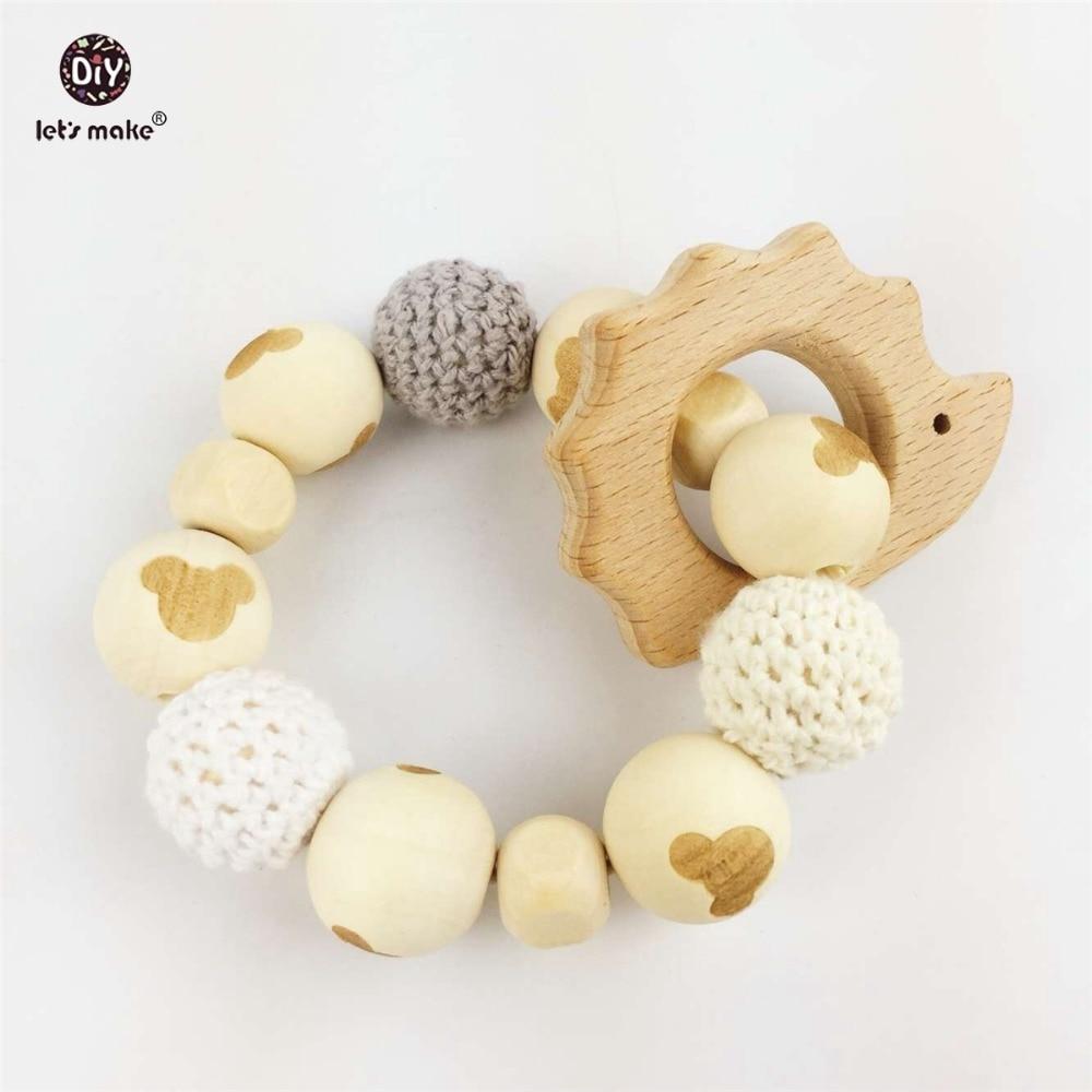 ᐅHagamos Hedgehog madera teether masticar Cuentas bebé Rattle ...