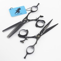 6.0 inch Freelander black circle set Hairdressing scissors Advanced barber shop essential scissors Hair trimming