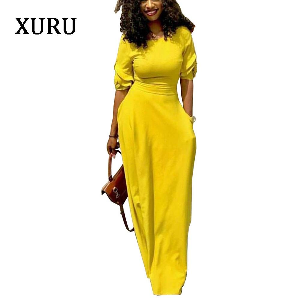 29cdc560153da XURU 2018 Autumn Pencil Dress Black Yellow Red Half Sleeve Slim Waits  Pockets Long Dresses Elegant