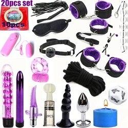 20 pçs conjunto bdsm bondage sexo kit algemas de couro fetiche adulto restrições bondage vibrador sexo brinquedos para mulheres escravo jogo