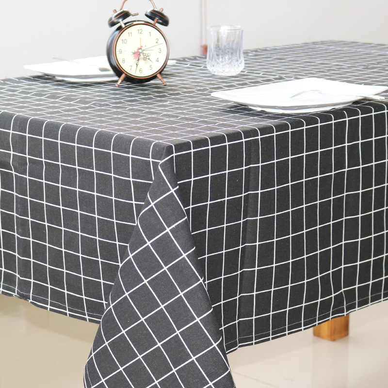 מפת שולחן שחור פס משובץ פשתן מפת שולחן מלבני בד שולחן סלון מטבח קפה שולחן בית קישוטים
