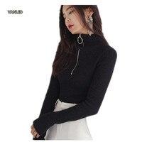 Harajuku Vintage Circle Ring Long Sleeve Tee Turtleneck Zipper Knitted Pullover