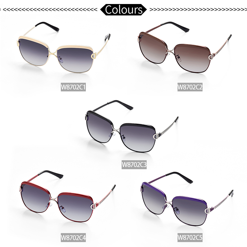 W amp E Polarized Women Sunglasses Aluminum magnesium Fashion Gradient Lens UV400 Women Sunglasses Large Size Luxury Brand goggles in Women 39 s Sunglasses from Apparel Accessories
