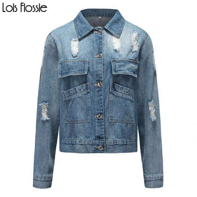1333530f205 plus size light blue damaged ripped lapel collar denim jackets for women  ladies stylish oversized vintage patched coats outwear