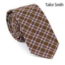 Tailor Smith Mens Fashion Designer Palid Check Tartan Style 100% Cotton Ties Casual Party Slim Necktie Cravate Green Navy Color