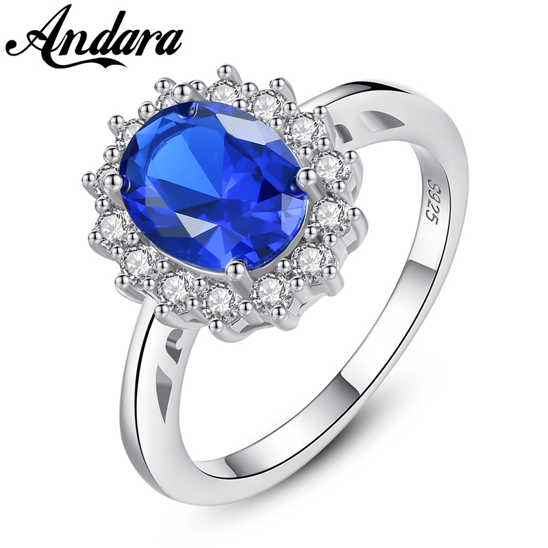 Luxury Brand Blue <font><b>Crystal</b></font> Zircon Wedding Rings for Women 925 Sterling Silver Fashion Jewelry Ring image