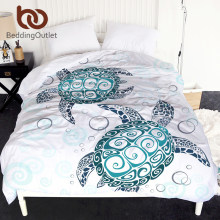 BeddingOutlet Turtles Duvet Cover King Tortoise Comforter Cover Marine Animal Bedclothes Cartoon Blue and White Bedspreads 1pc(China)