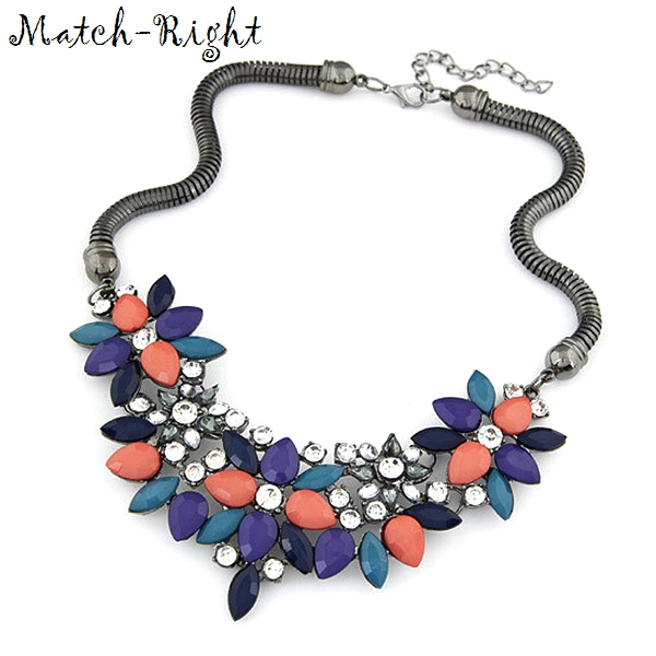 Match-Right 2015 Summer Jewelry Hot Necklaces Pendants Women Statement Necklace Colar Choker Necklace Resin Flower Pendant
