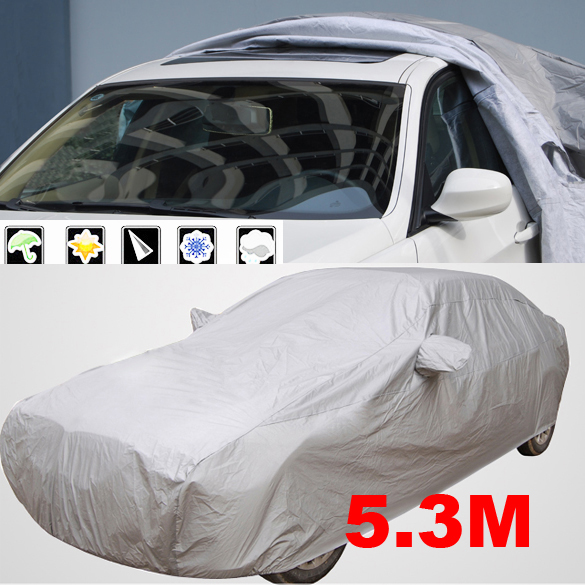 Universal Full Car Cover Waterproof Thicken Case For Car Sunshade Snow Protection Dustproof Anti-UV Scratch-Resistant Size XXL