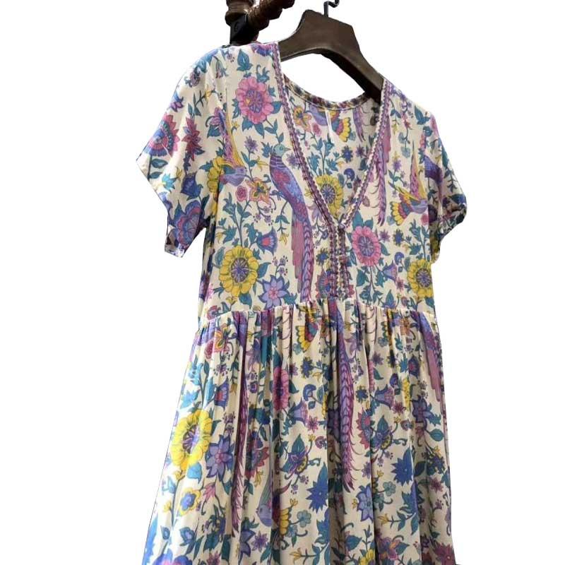 ee68cab6b2c6 Boho Inspired 2017 summer dresses floral lovebird print V neck mini casual  dress women Bohemian hippie chic vestidos clothing-in Dresses from Women s  ...