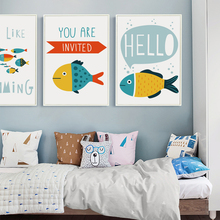 Elegant Poetry  Abstract Cartoon Ocean Fish English Canvas Painting Art Print Poster Picture Wall Home Decoration