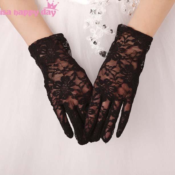 Ivory Red Black Bridal Elegant Gloves Lace Full Finger Short Cheap Wedding Accessories Black Red Wrist Length Wedding Gloves