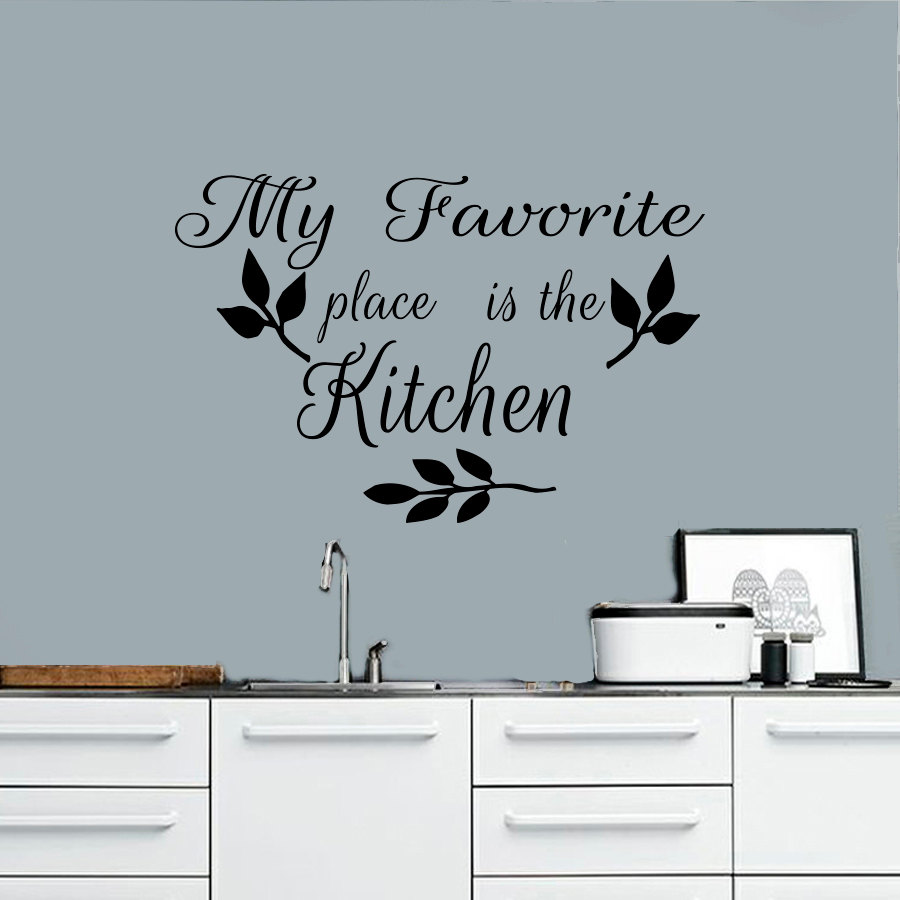 My Favorite Place Is The Kitchen Wall Decal Leaves Diy Home Decor Sticker  Pvc Removable Wall