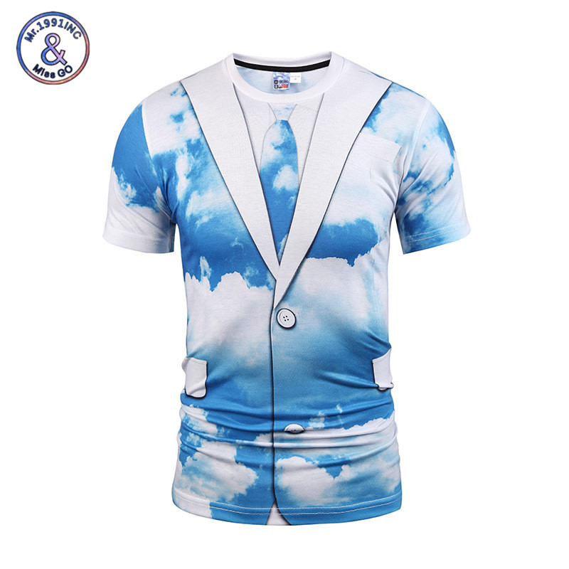 2017 New Fashion Blue Sky 3D Print T-shirt Men Summer Fake Two Pieces Style Tops Casual O-neck Short Sleeves Male Tees
