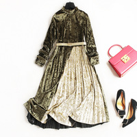 Women Fashion Long Sleeve Turtleneck Warm Autumn Pleated Velvet Dress Color Block Patchwork Belt Dresses New