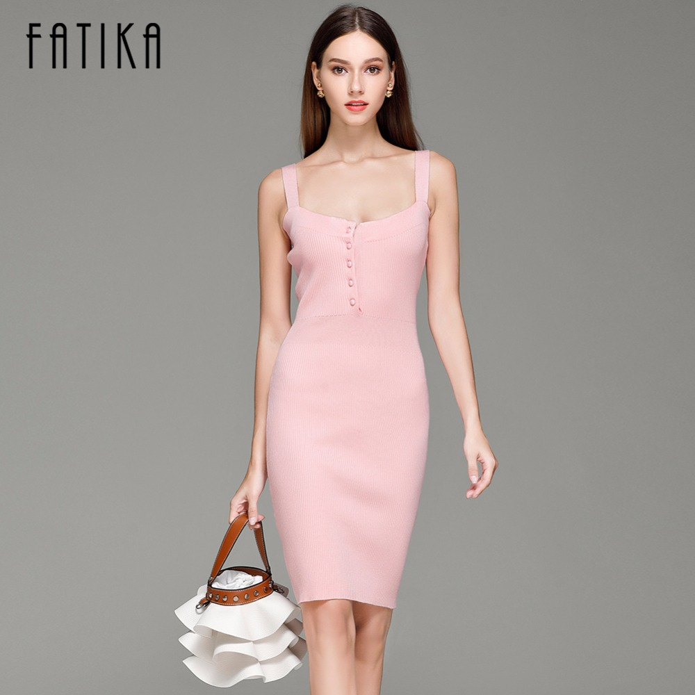 FATIKA 2017 Spring Autumn New Womens Knitted Dress Mini Bodycon Dress Women Brandy Spaghetti Strap Sweater Dress