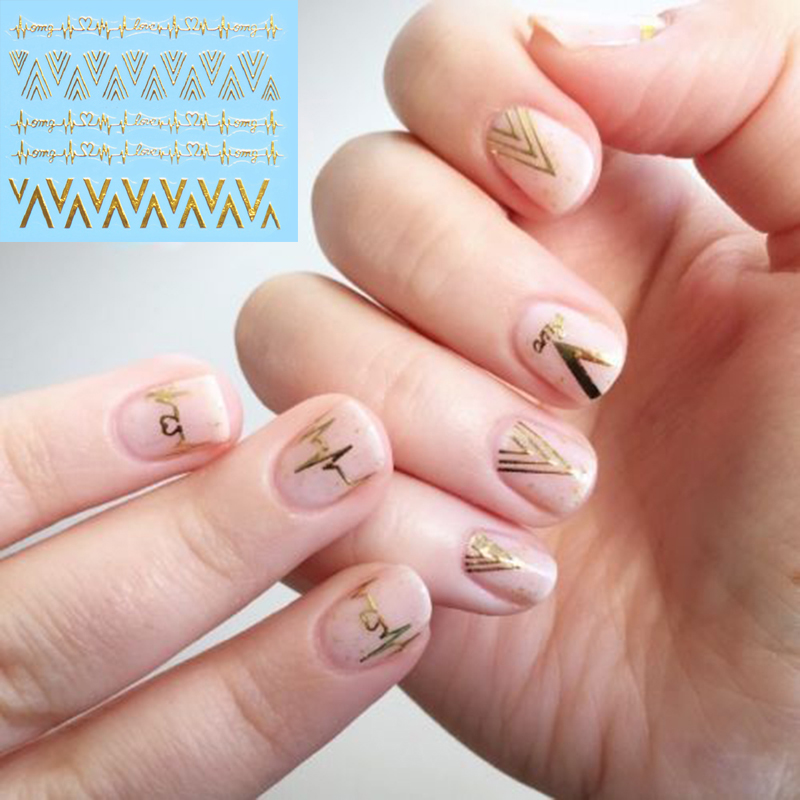 2pcs new design gold v shape heartbeat 3d nail stickers 2pcs new design gold v shape heartbeat 3d nail stickers personality nail art decals 2016 hot in stickers decals from beauty health on aliexpress prinsesfo Images