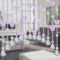 103*87cm Arch bead curtain Dense string Crystal butterfly 40mm Conical pendant A complete set of bead curtain free shipping