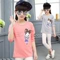 Girls Tees Long Sleeve Cartoon Bunny T-Shirts For Girls Children Clothing Cotton New Year Costumes Kids Tops 2 4 6 8 10 12 Years