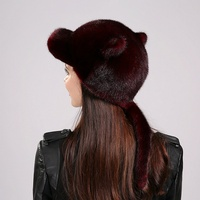 Sexy Fur Hat Women Fur Visors Hat Winter Genuine Mink Fur Material Gift For Female Friend European And American Style EA4050-12