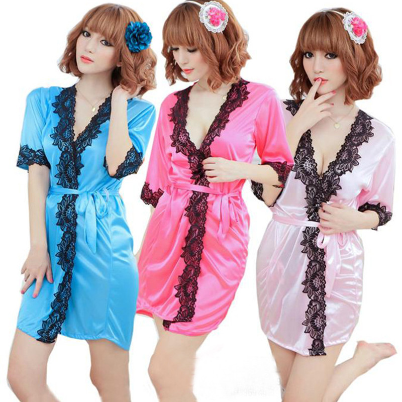 2018 Hot Sale Women Babydoll Sexy lingerie Women Dress V-neck Bathrobe Rayon Silk sex Sleepwear Nightdress Robes kimono