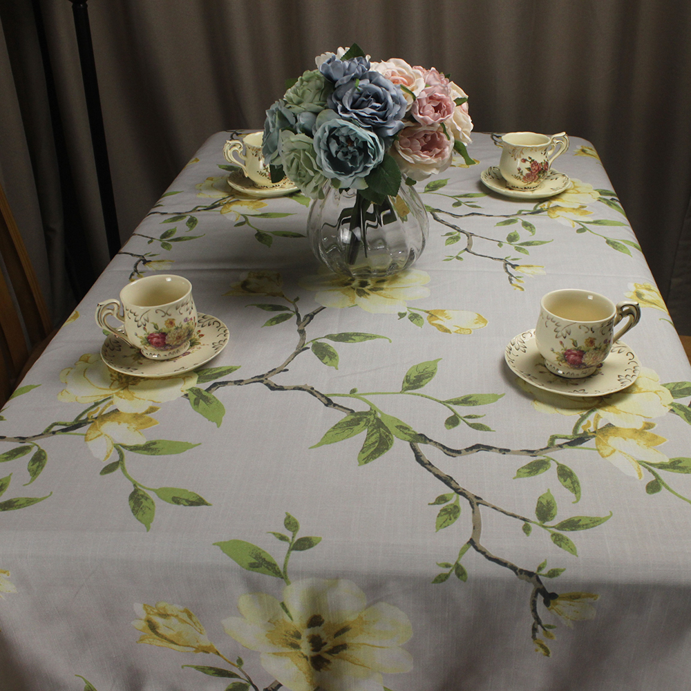 Curcya Dining Table Cover Cloth Magnolia Flower Printed Cotton Linen