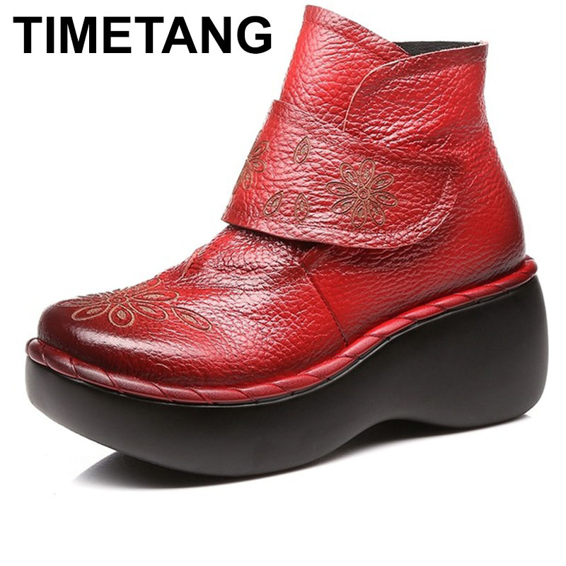 TIMETANG Women Autumn Winter Shoes Genuine Leather Boots Handmade Women Shoes Soft Bottom Ankle Boots With Platform High Heel