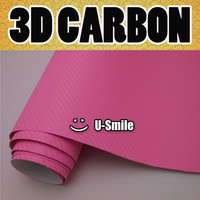 Pink 3D Carbon Fiber Vinyl Wrap Pink Carbon Fiber Film Sheet Air Release Car Wrapping Size:1.52X30M/Roll