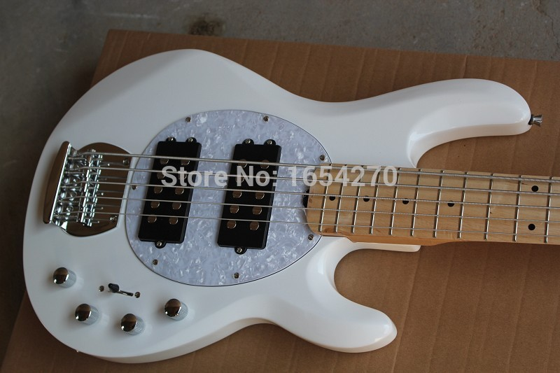 Free Shipping White Music Man 5 Strings Electric Bass guitar with active pickups 9V battery guitar Guitarra