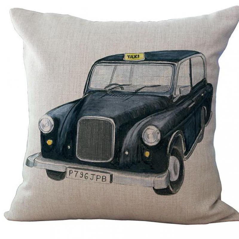 Nordic Cartoon Pillow Vintage Car Linen Cotton Sofa Pillow Cushion ...