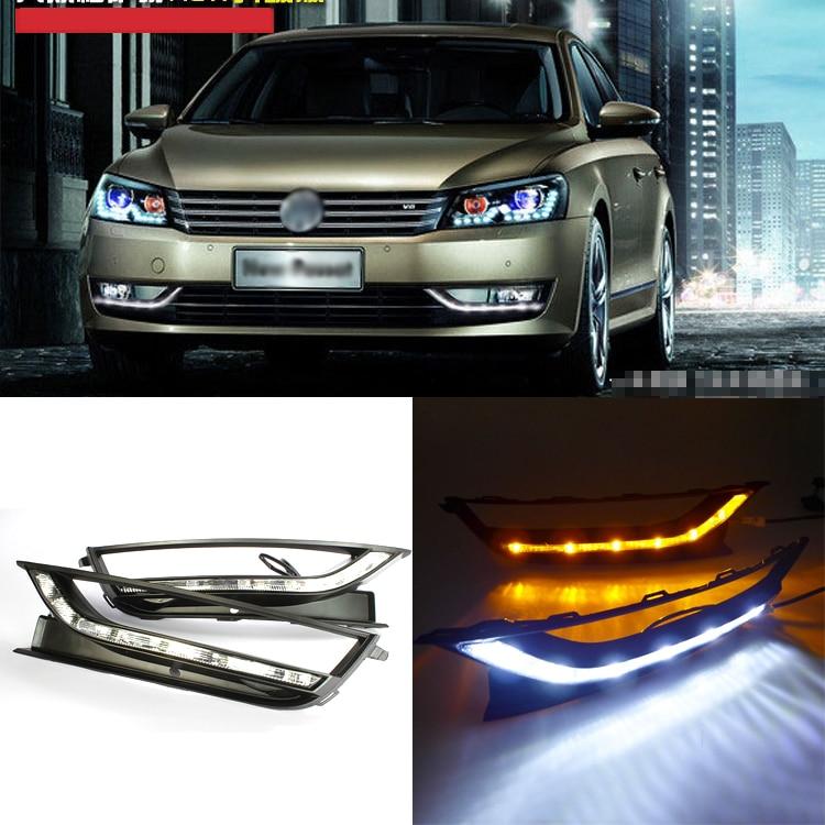 Ownsun новое обновление светодиодные фары дневного света DRL с желтый сигнал поворота для Фольксваген Пассат 2012