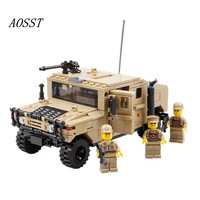(AOSST)Children's Educational Assemble Plastic Block Toys Military Series Hummer Armored Car Gifts For Boys Birthday Present