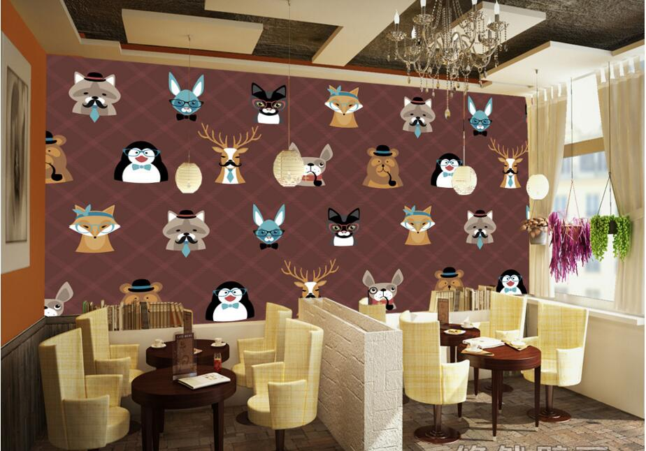 Custom papel de parede,Personality cartoon animals,living room sofa TV wall bedroom 3d wall murals wallpaper custom children wallpaper multicolored crayons 3d cartoon mural for living room bedroom hotel backdrop vinyl papel de parede